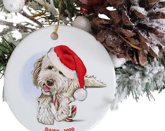 goldendoodle or labradoodle ornament personalized, dog memorial gift, round ceramic white golden doodle ornaments, dog Santa Claus hat, name