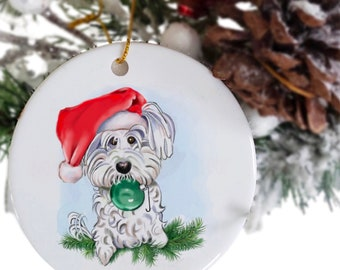 Maltese ornament with name and date, shih tzu ornament, memorial pet ornament, Maltese decor, Christmas dog theme, pet loss gift