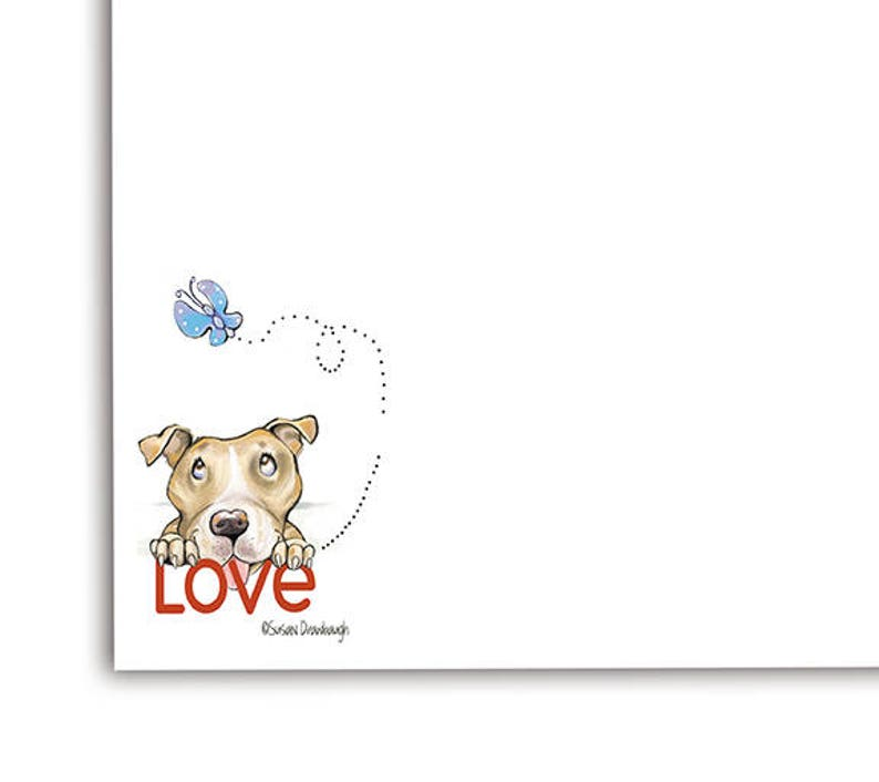 Pit Bull Notepad / Whimsical Pitbull Art on Stationery / Pit image 0