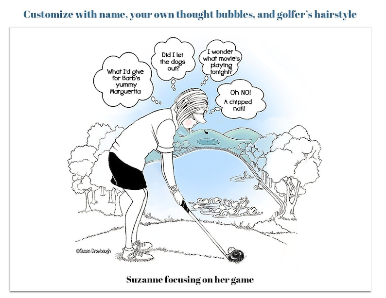 Personalized Gift for Woman Golfer  Humorous Golf Print  image 0