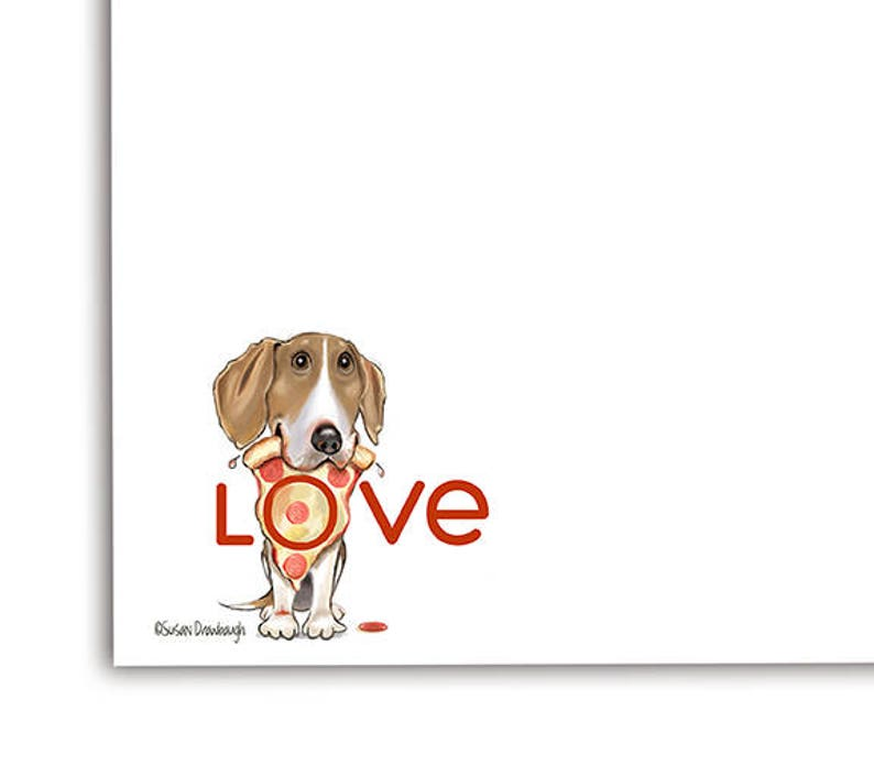 Beagle Lover Notepad  Beagle Gift  Pizza  Gift for Pet image 0
