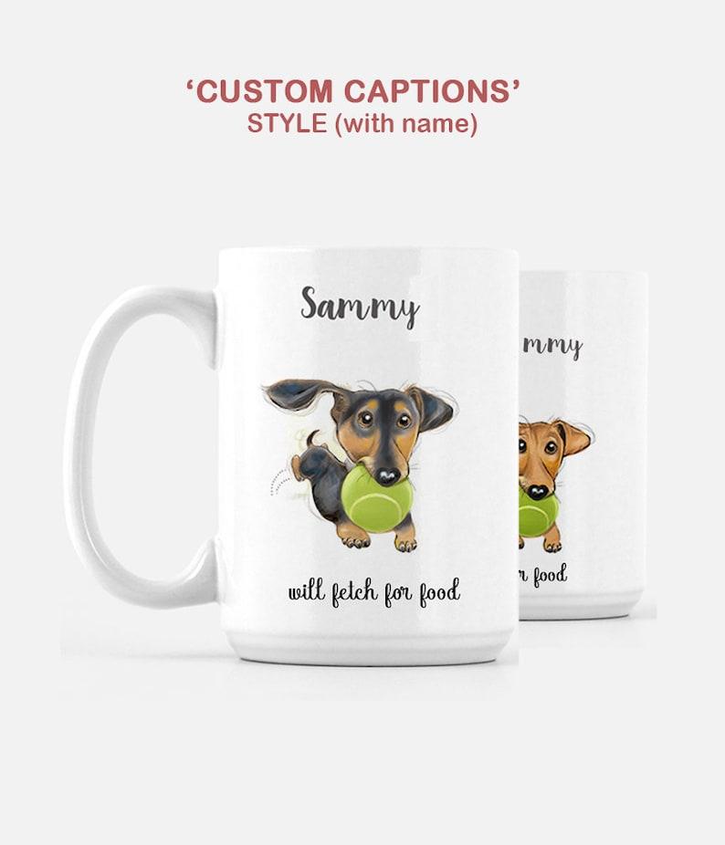 Dachshund Artwork Mug / Personalized Doxie Mug / Personalized image 0