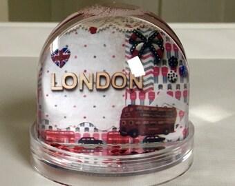 London snow globe, 1st birthday gift, keepsake, boys gift idea, london party, snow globe collectable, snow dome, first christmas gift.