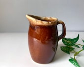 Hull Creamer Brown Drip Glaze Pottery Vintage at Quilted Nest