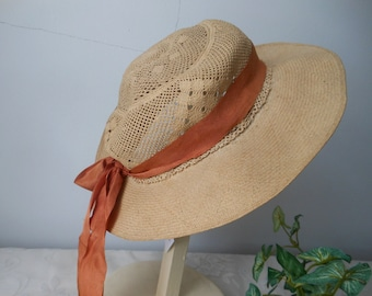 13172ba92e4 Vintage Beige Natural Straw Hat Rust Grosgrain Ribbon Ladies Womens at  Quilted Nest
