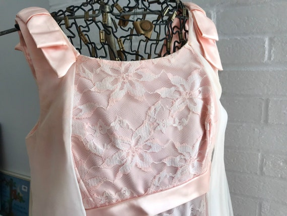 Pink Satin Lace Overlay Bridesmaid Dress Gown Atta
