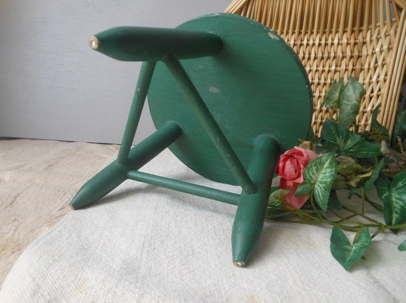 Vintage Painted Green Rabbit Milk Stool Wooden Doll Small at Quilted Nest