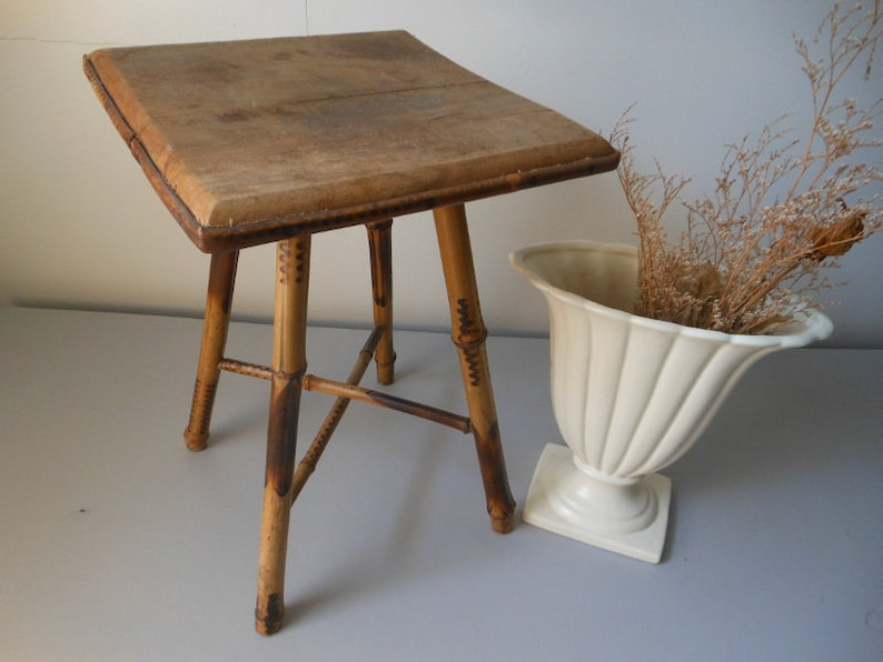 Brilliant Bamboo Plant Stand Short Side End Table Wooden Antique Vintage At Quilted Nest Home Interior And Landscaping Ologienasavecom
