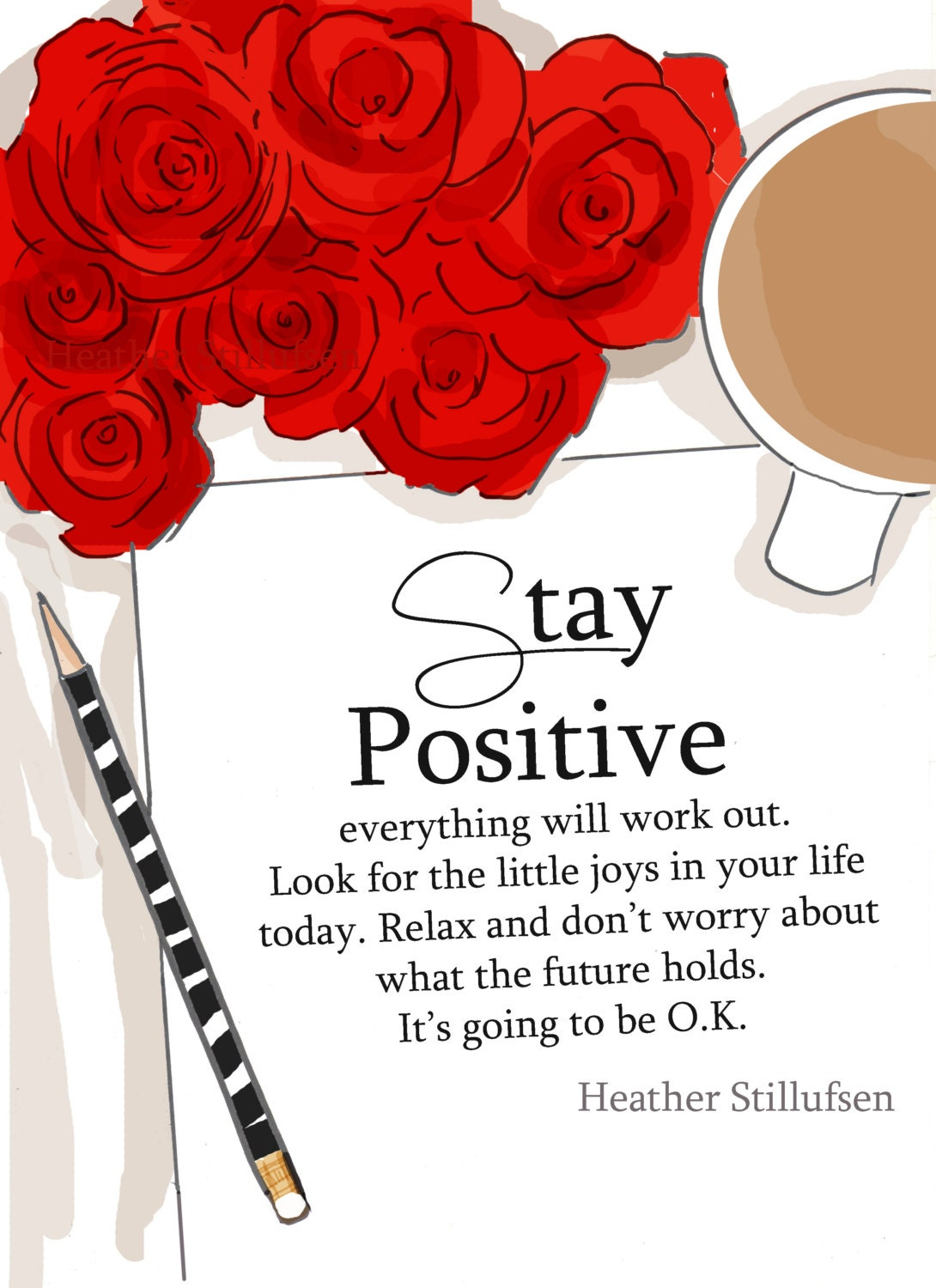 Stay Positive Art for Women Quotes for Women Art for | Etsy