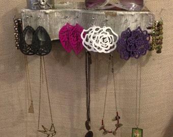 Upcycled Salvaged Wood Jewelry Holder Organizing Display