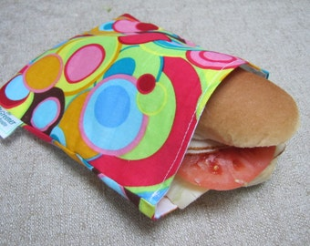 SALE! Reusable Sandwich Bag - Rainbow Circles