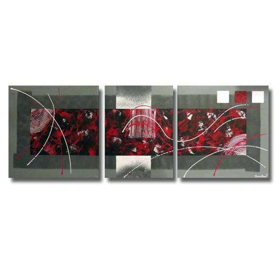 tableau triptyque toile rouge gris noir design contemporain etsy. Black Bedroom Furniture Sets. Home Design Ideas