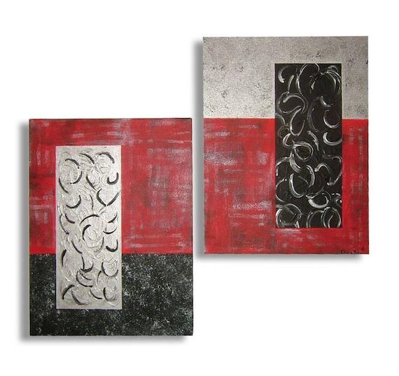 tableau rouge noir gris argent contemporain de chiaradeco bois etsy. Black Bedroom Furniture Sets. Home Design Ideas