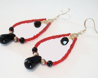 earring drop creole red burgundy gold black