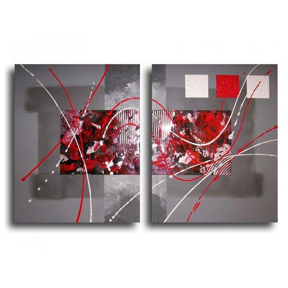 tableau toile diptyque rouge noir gris blanc art contemporain etsy. Black Bedroom Furniture Sets. Home Design Ideas