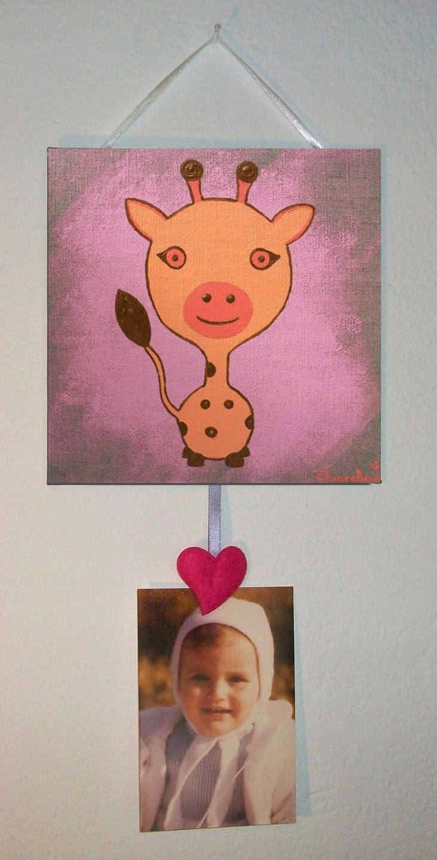 Cadre photo toile girafe rose orange d coration chambre b b etsy - Cadre photo chambre bebe ...