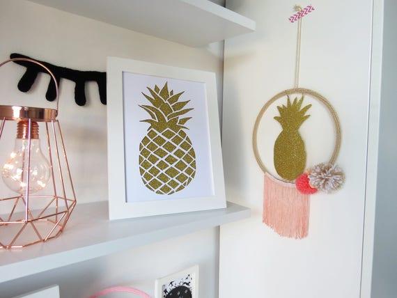 Catcher droom ananas koraal roze poeder beige witte kamer etsy