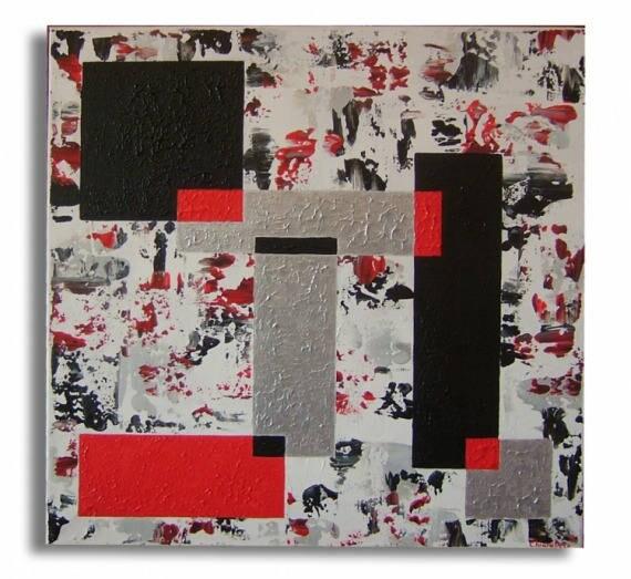 tableau carr rouge noir gris argent design contemporain de etsy. Black Bedroom Furniture Sets. Home Design Ideas