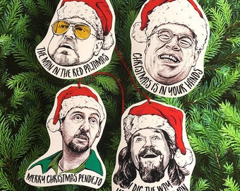 The Big Lebowski Paper Christmas Tree Ornament Set of 4