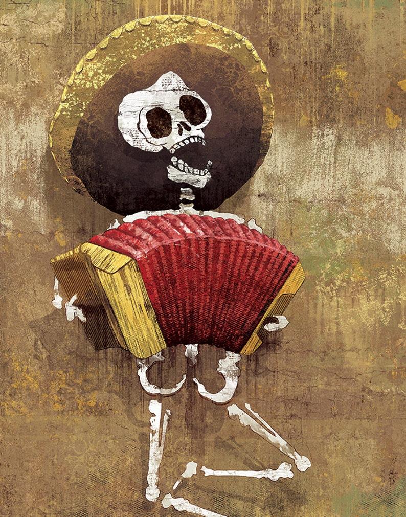 Dia de los Muertos Calavera Accordion Player  12x18 High image 0