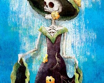 Dia de los Muertos Calavera Dancer - 18x24 art poster print