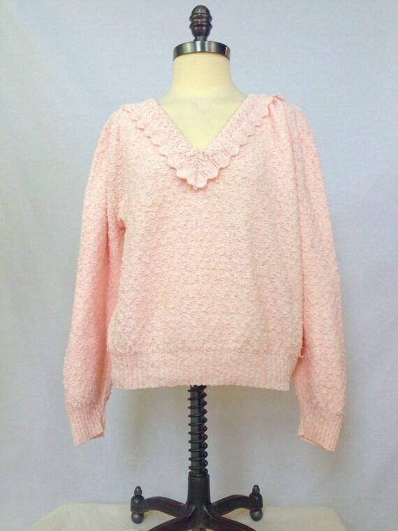 Pink Vintage Sweater 80s Crocheted Shirt V Neck Pi