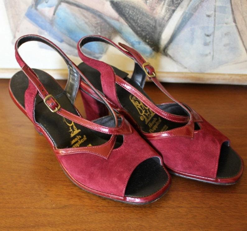 b4a6032ee891 Vintage Suede Heels Burgundy Red Sandal 70s Hush Puppies Retro