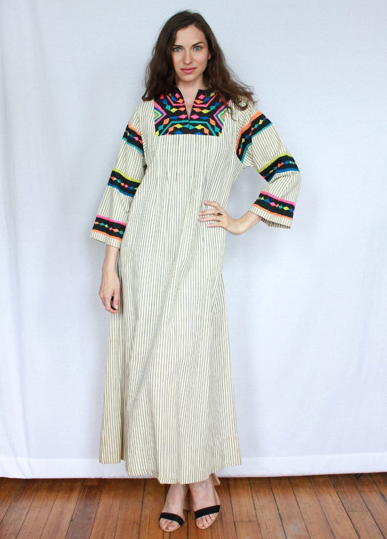 f4b72d6163e RESERVED 40s Mexican Tunic Neon Vintage Hand Embroidered Dress
