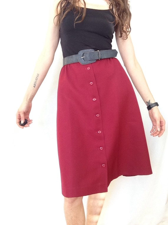 2fc8542b332 Vintage A Line Skirt Midi Burgundy Campus 70s Skirt Small Knee | Etsy