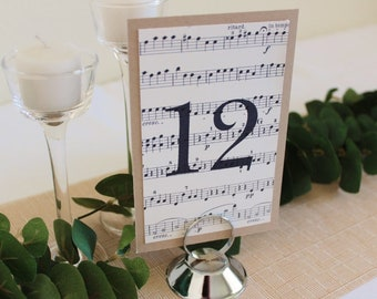 Rustic beige sheet music wedding table numbers