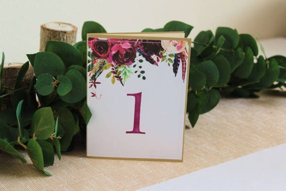 Wine floral boho guest book table numbers personalized
