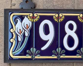Custom Hand Glazed White on Royal Blue Calla Lily Tile House Numbers