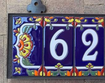 Custom Hand Glazed White on Royal Blue Talavera Tile House Numbers
