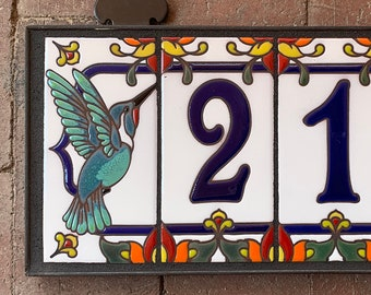 Custom Royal Blue on White Ceramic Tile House Numbers with Hummingbird End Caps