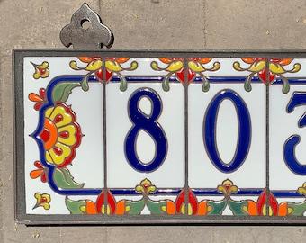 Custom Hand Glazed Royal Blue on White Talavera Ceramic Tile House Numbers