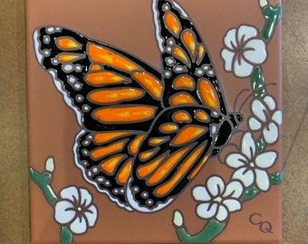 """6""""x6"""" Monarch Butterfly with White Flowers on Terra Cotta Ceramic tile"""
