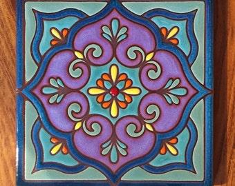 6x6 Jade Green Talavera Inspired Hand Glazed Decorative Ceramic Tile