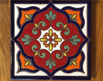 6x6 Traditional Talavera Inspired Hand Glazed Decorative Ceramic Tile