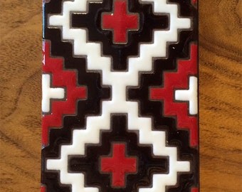 3x6 Geometric Red and Black Navajo Rug Hand Glazed Decorative Ceramic Tile