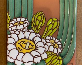 "6""x6"" Saguaro Blooms on Terra Cotta Ceramic tile"