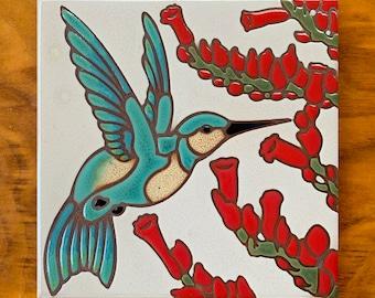 """6""""x6"""" Hand Glazed Hummingbird Ceramic Tile Trivet"""