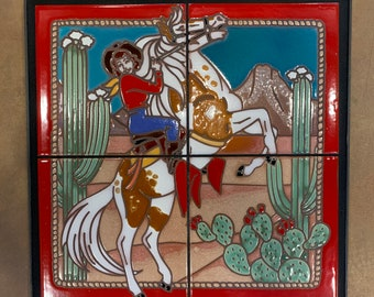 12x12 Cowgirl Hand Glazed Decorative Tile Mural