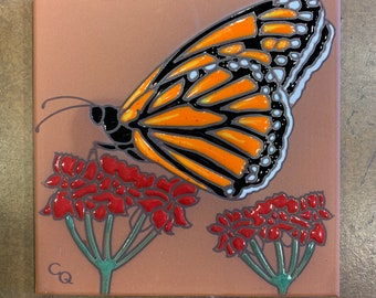 """6""""x6"""" Monarch Butterfly with Milkweed on Terra Cotta Ceramic tile"""
