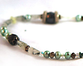 Necklace - Green Chrysolite, Swarovski Crystal, Peridot, Pearl and Sterling Silver