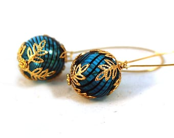 Blue Swirled Venetian Glass with Gold Bead Caps Earrings