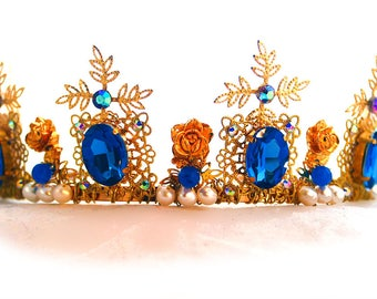 Gold, Sapphire,Freshwater Pearl, Crystal, and Filigree Crown