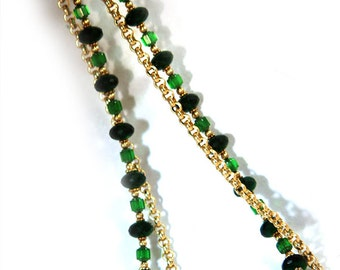 Emerald Necklace, Gold Plated Rolo Chain, Czech Glass Cathedral beads, Vermiel Beads,
