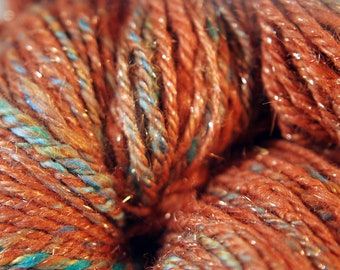 Handspun COPPER Art Yarn Chain Ply, 3 ply dk to Light worsted 170 yards - free shipping