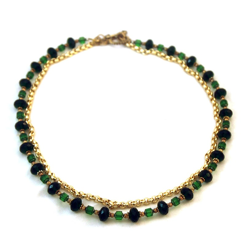 Emerald Necklace Gold Plated Rolo Chain Czech Glass image 0