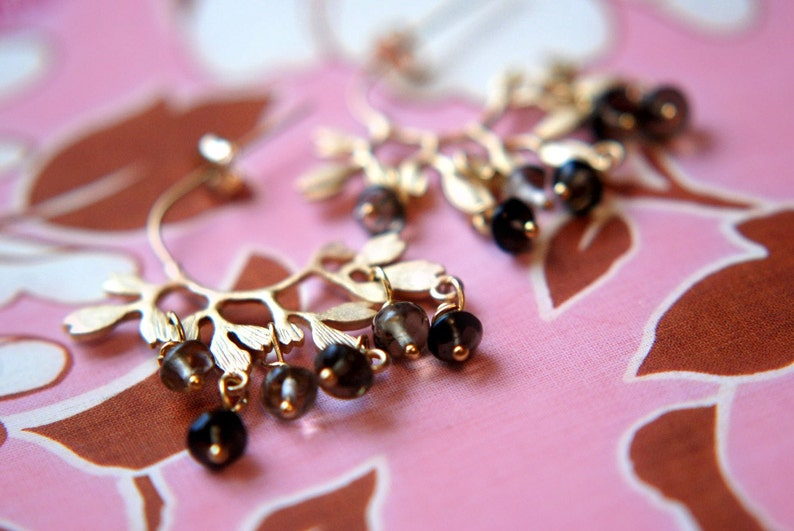 Earrings Smoky Quartz and 16k Gold Plated over Sterling image 0
